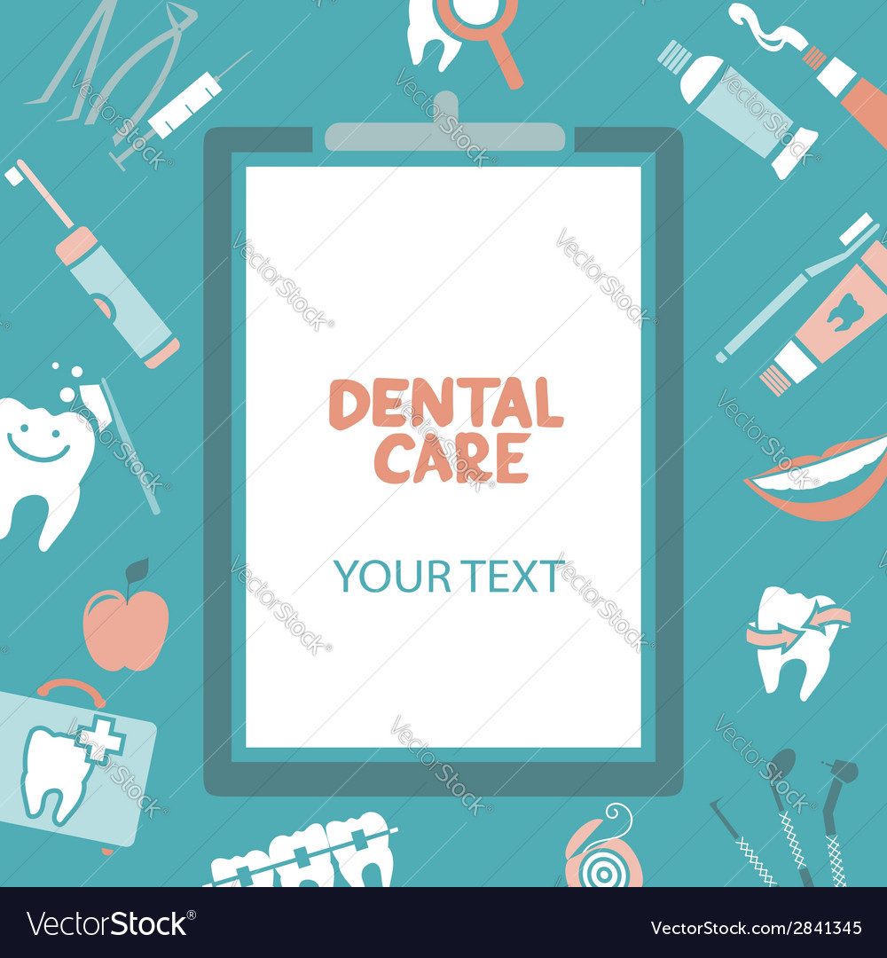 Medical clipboard with dental care text vector | Price: 1 Credit (USD $1)