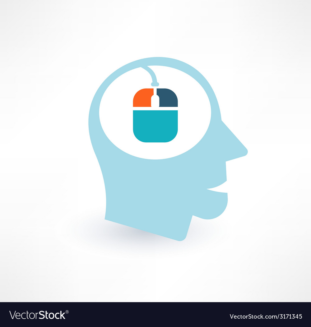 Mouse and head icon computer addiction concept vector | Price: 1 Credit (USD $1)