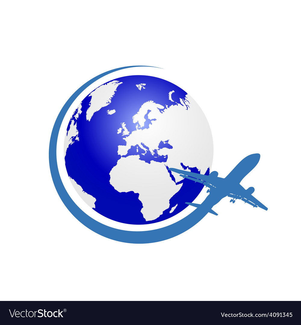 Planet with airplane color vector | Price: 1 Credit (USD $1)