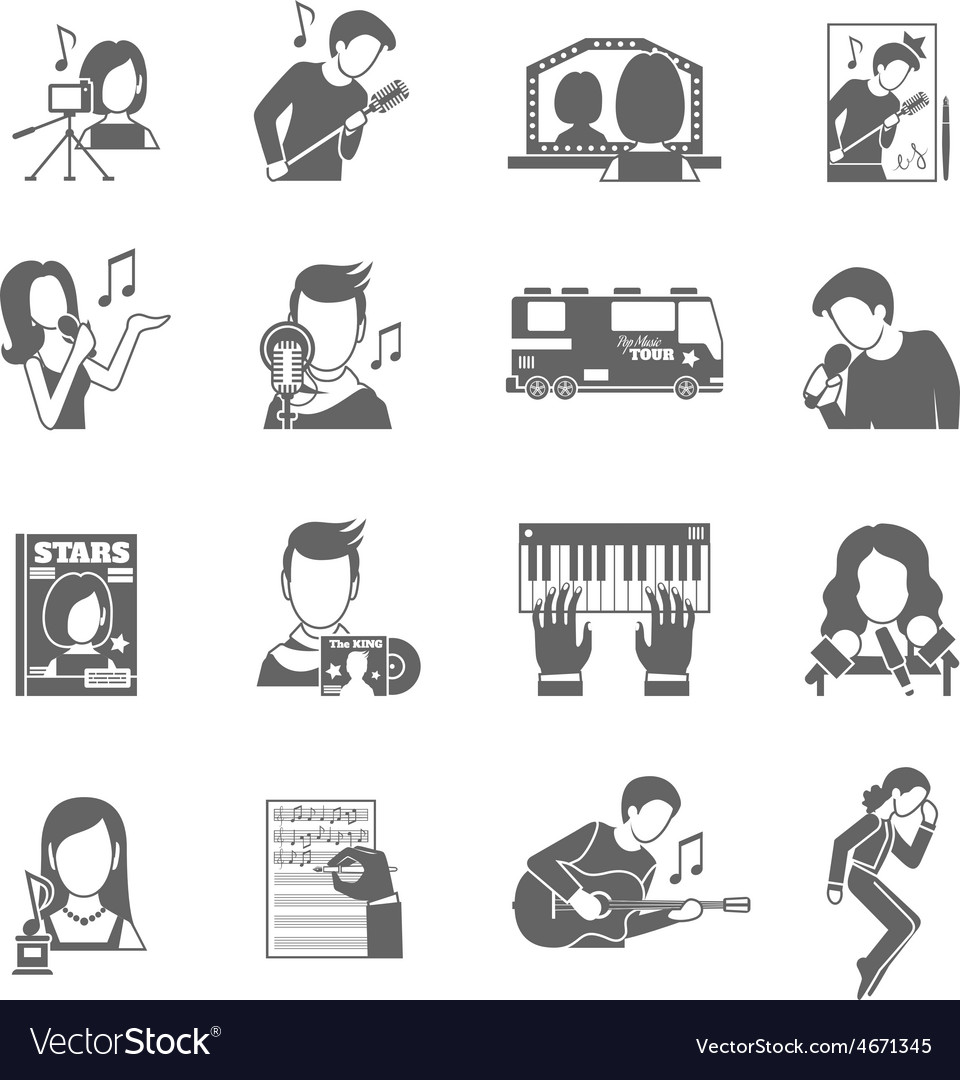 Pop singer icons set vector | Price: 1 Credit (USD $1)