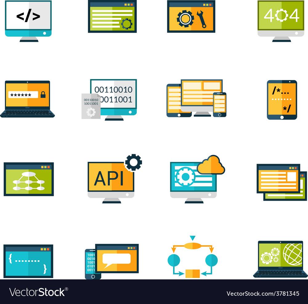 Programming icons set vector   Price: 1 Credit (USD $1)