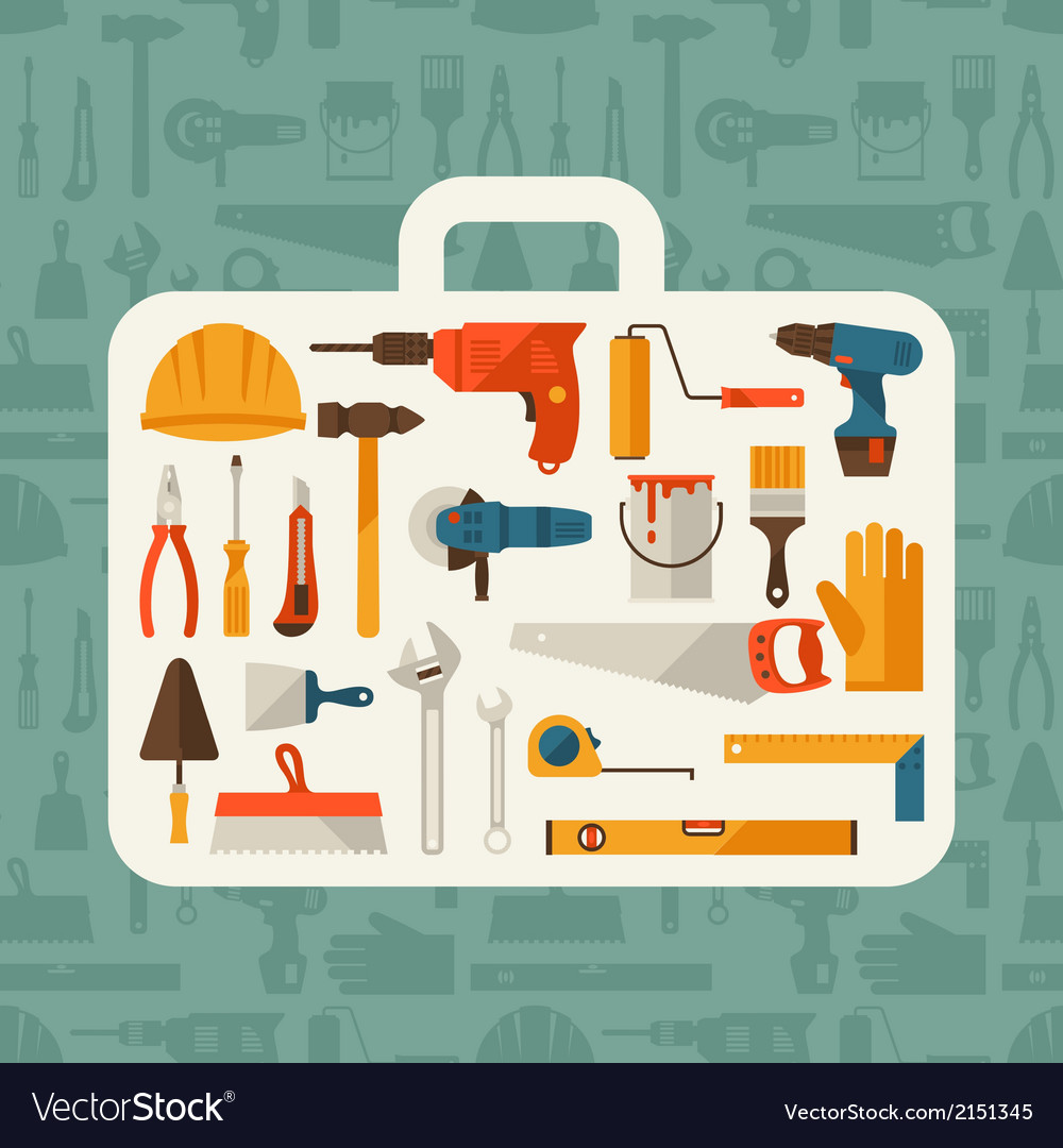Repair and construction with working tools icons vector | Price: 1 Credit (USD $1)