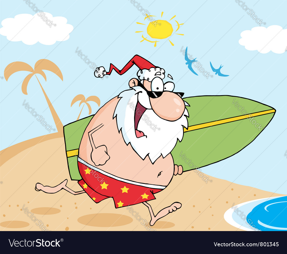 Santa running with a surfboard vector | Price: 1 Credit (USD $1)