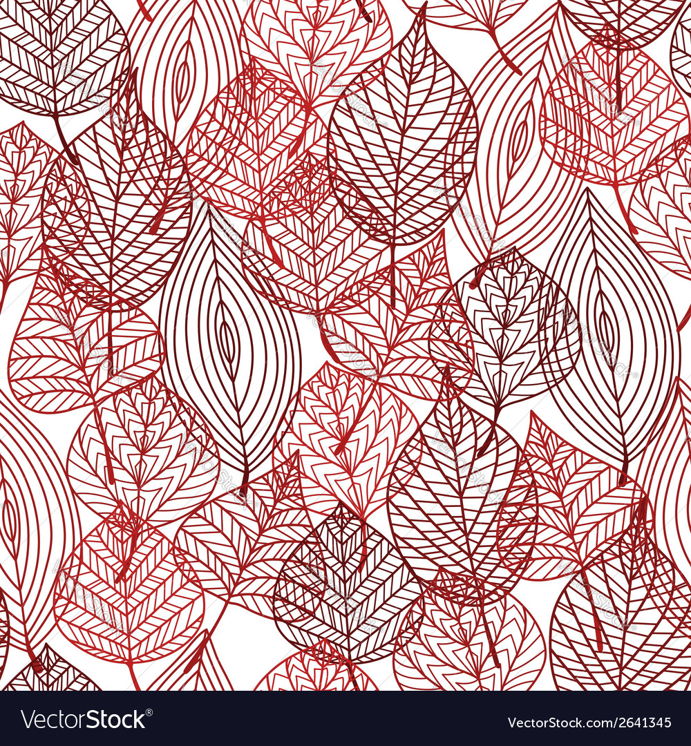 Seamless pattern of red autumnal leaves vector | Price: 1 Credit (USD $1)