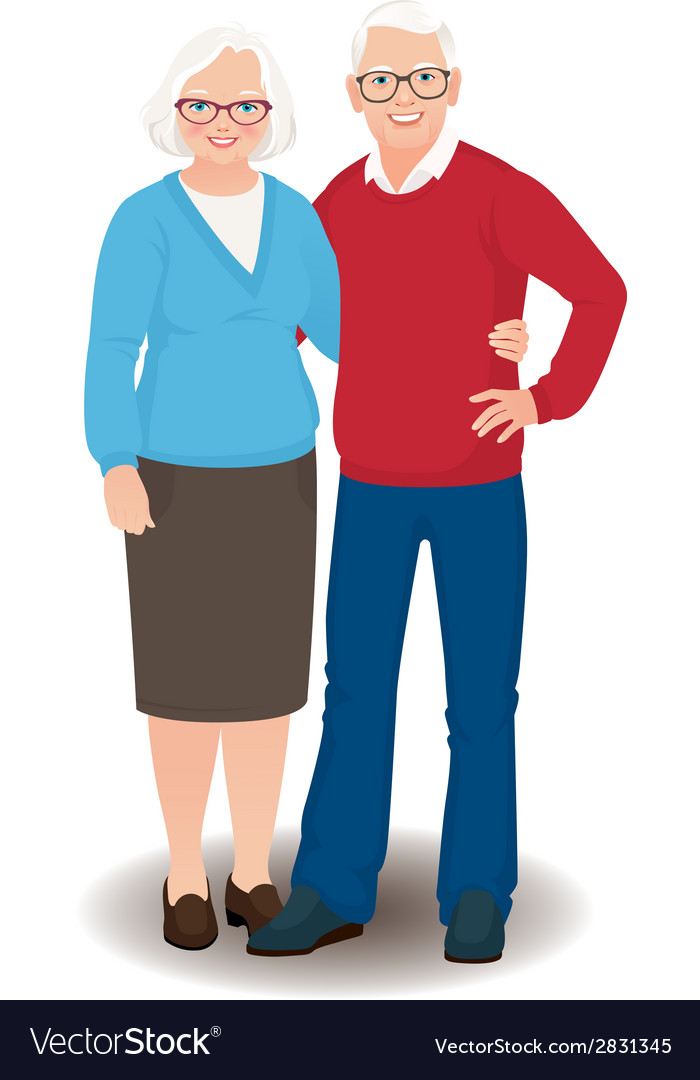 Senior couple in full length vector | Price: 1 Credit (USD $1)