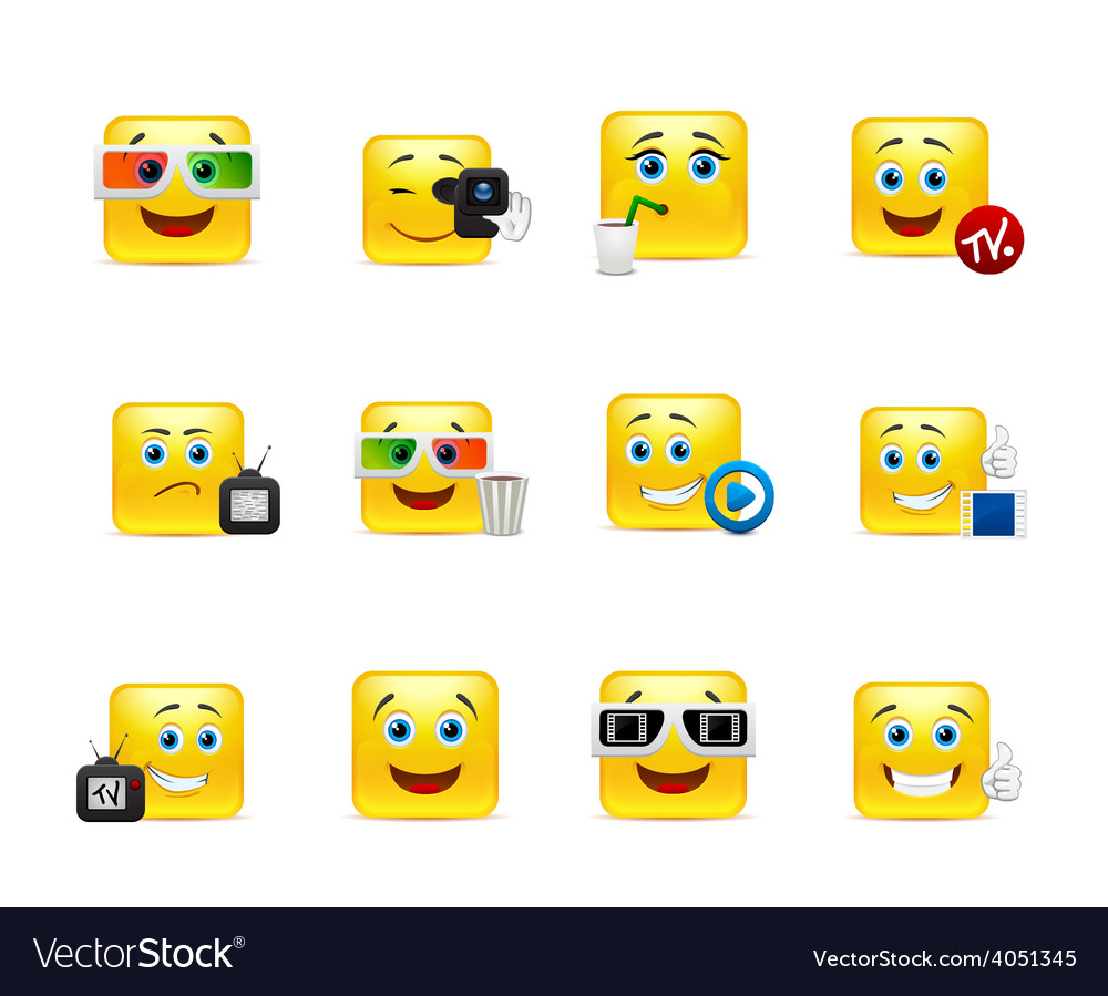 Smilies in a movie vector | Price: 1 Credit (USD $1)