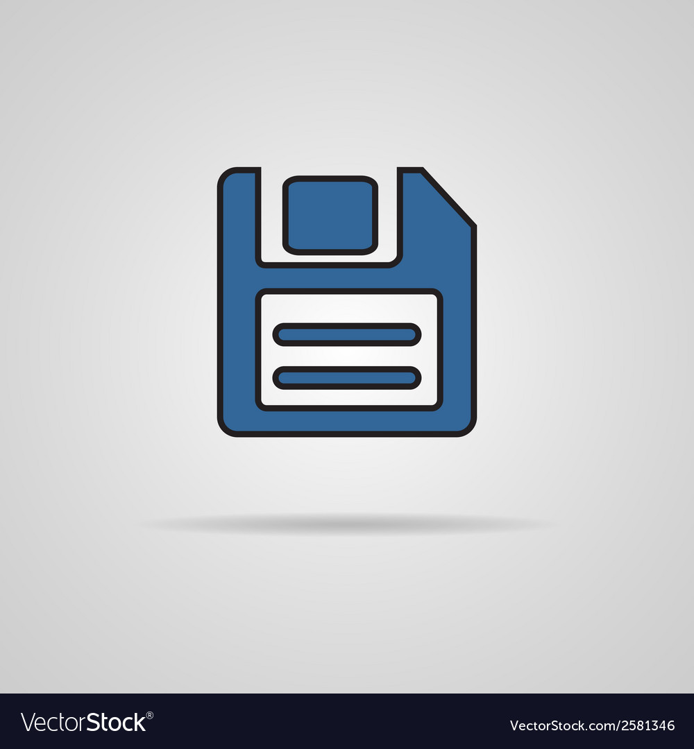 A blue icon with diskette inside vector | Price: 1 Credit (USD $1)