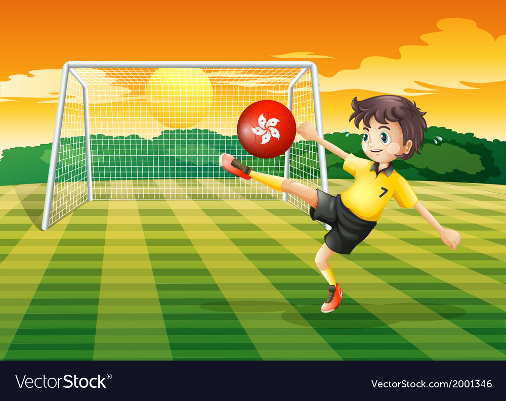 A female athlete kicking the ball with the flag of vector | Price: 3 Credit (USD $3)