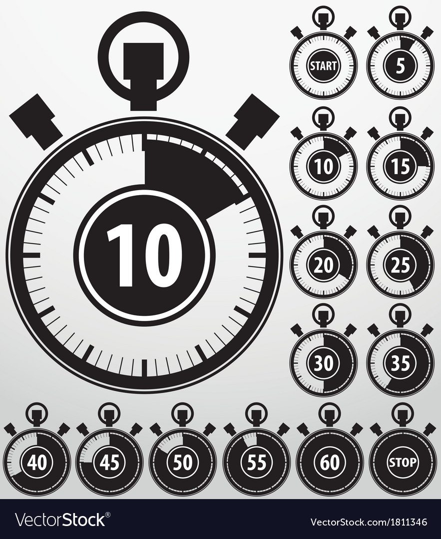 Analog timer icons set vector | Price: 1 Credit (USD $1)