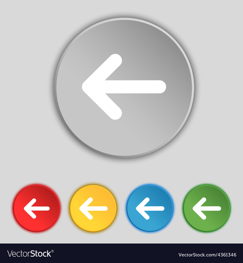 Arrow left way out icon sign symbol on five flat vector | Price: 1 Credit (USD $1)