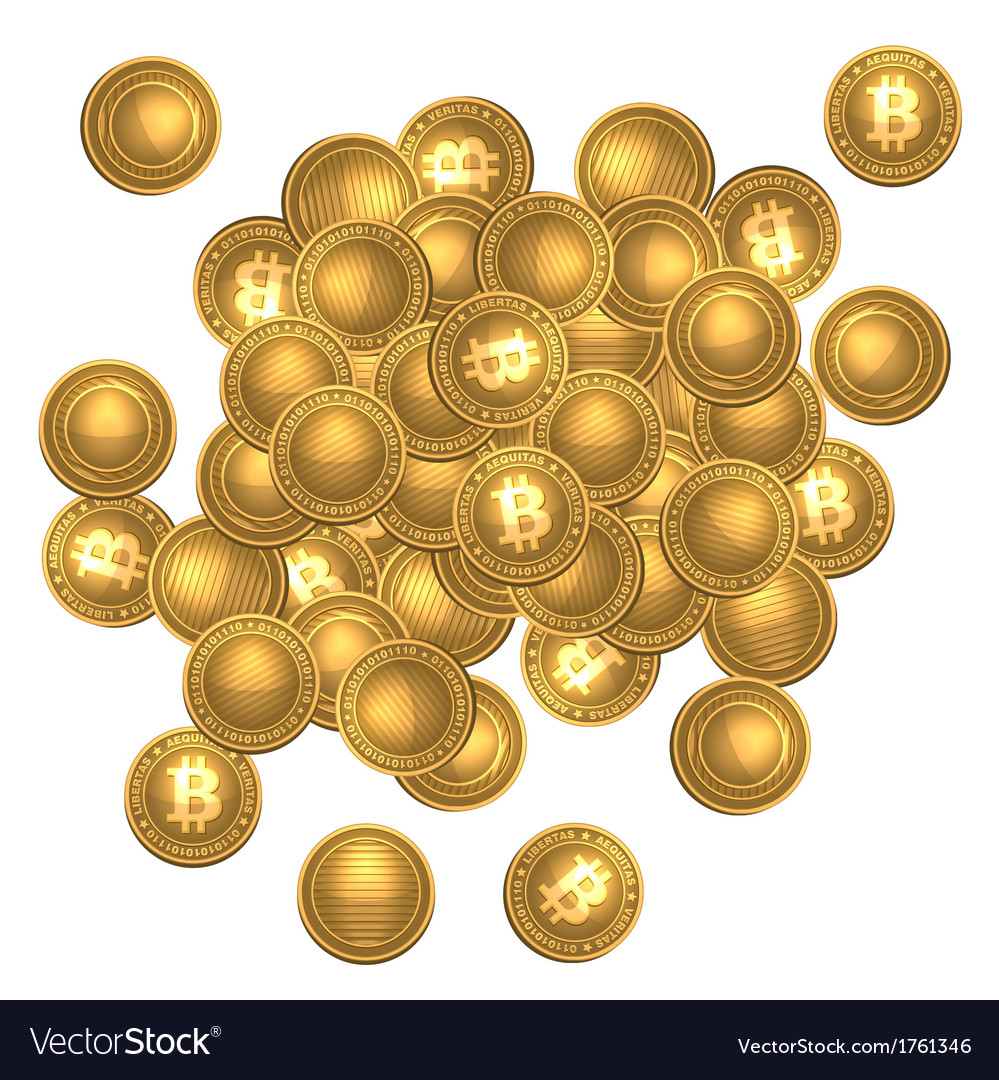 Bitcoins heap isolated on white vector | Price: 1 Credit (USD $1)