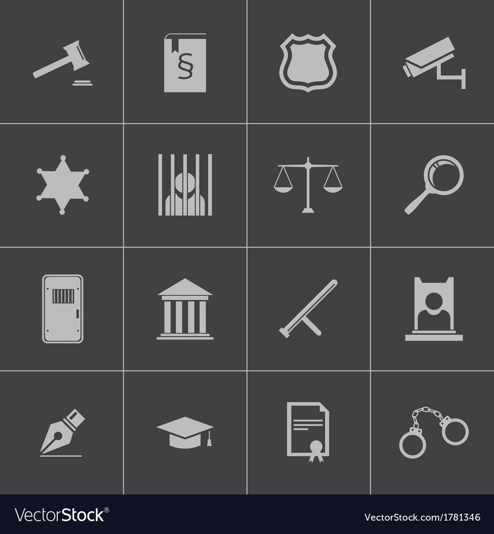Black justice icons set vector | Price: 1 Credit (USD $1)