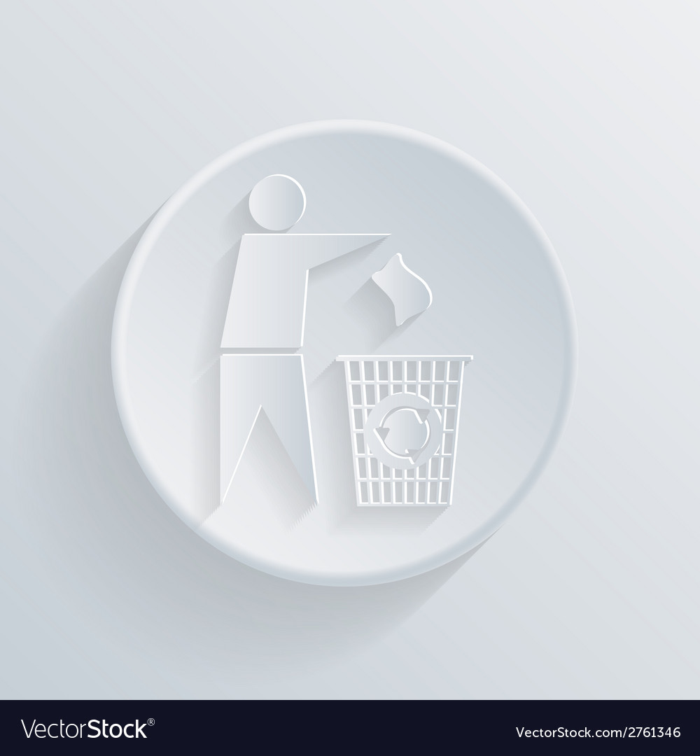 Circle icon with a shadow do not litter vector | Price: 1 Credit (USD $1)