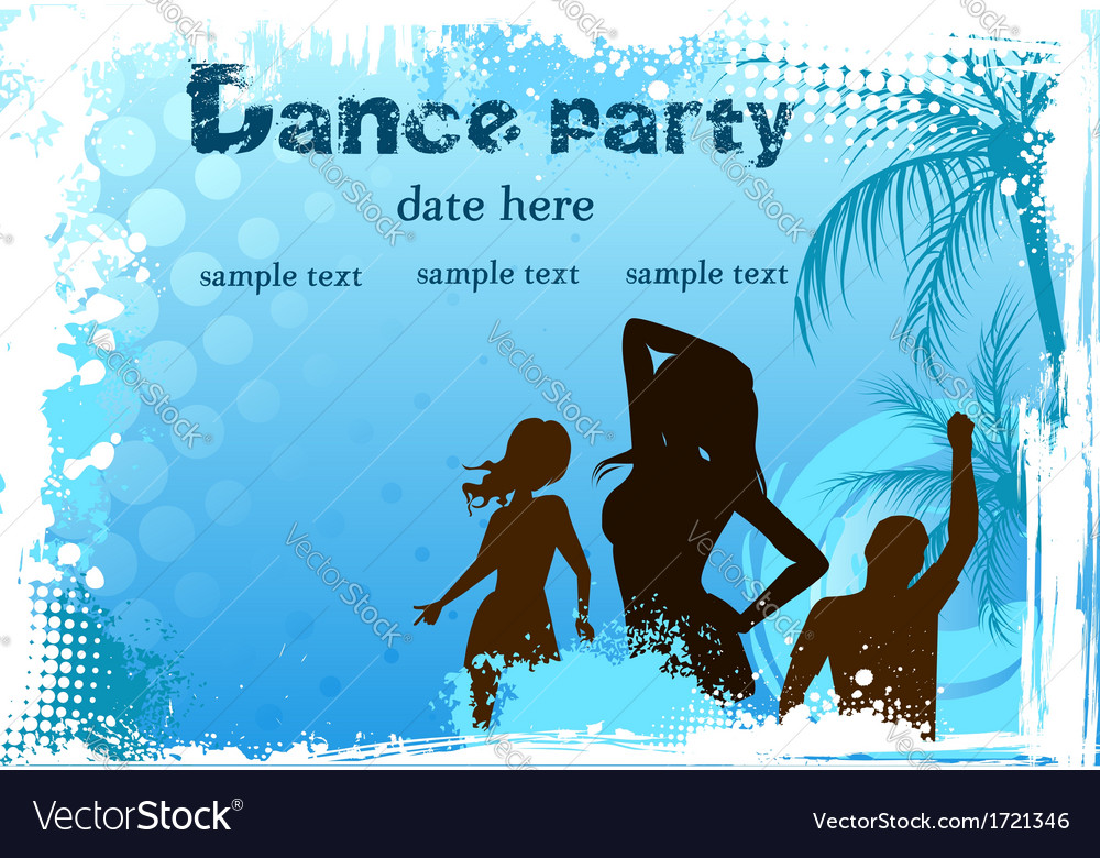 Dance party blue background vector | Price: 1 Credit (USD $1)