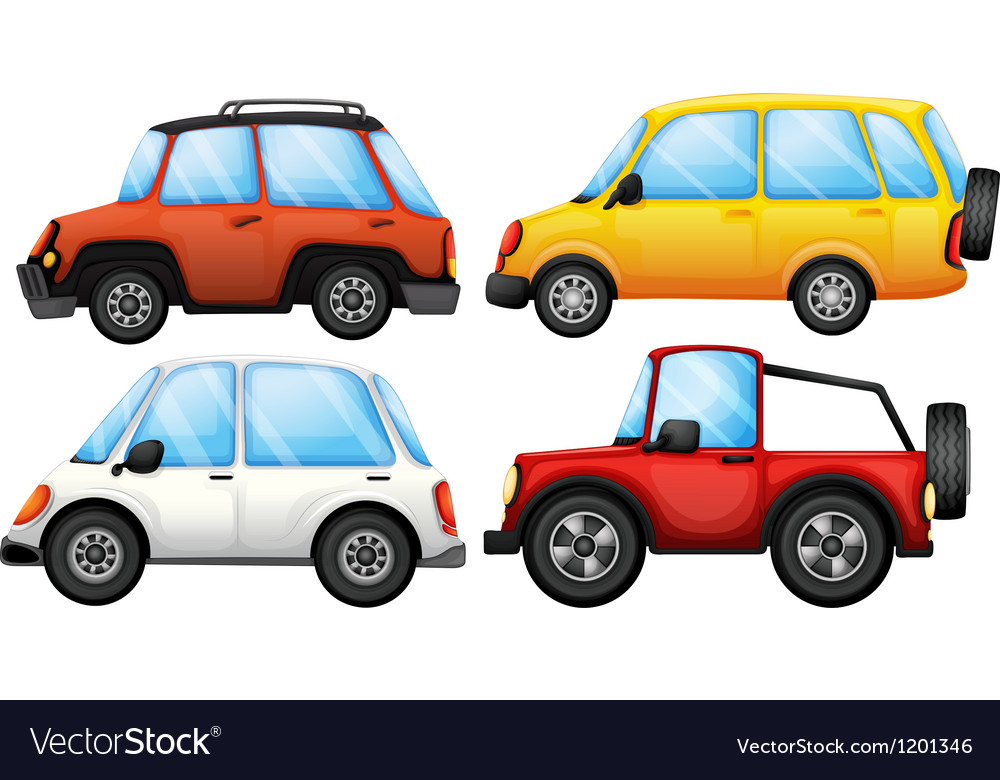 Four cars with different styles vector | Price: 1 Credit (USD $1)