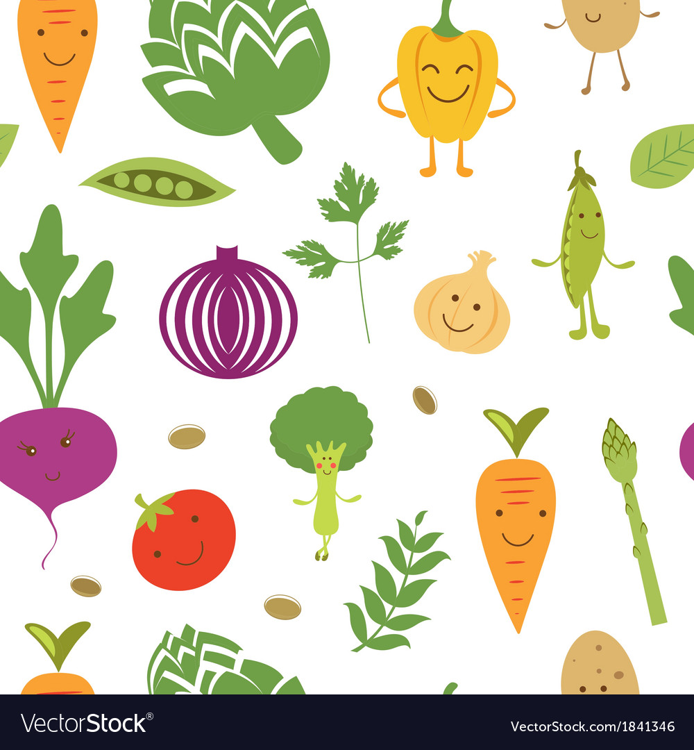 Fun vegetables pattern vector | Price: 1 Credit (USD $1)