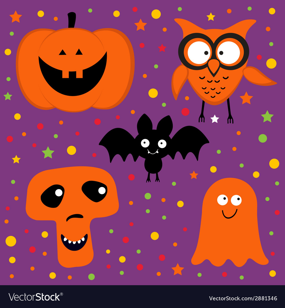 Halloween set with pumpkin owl bat ghost and skull vector | Price: 1 Credit (USD $1)