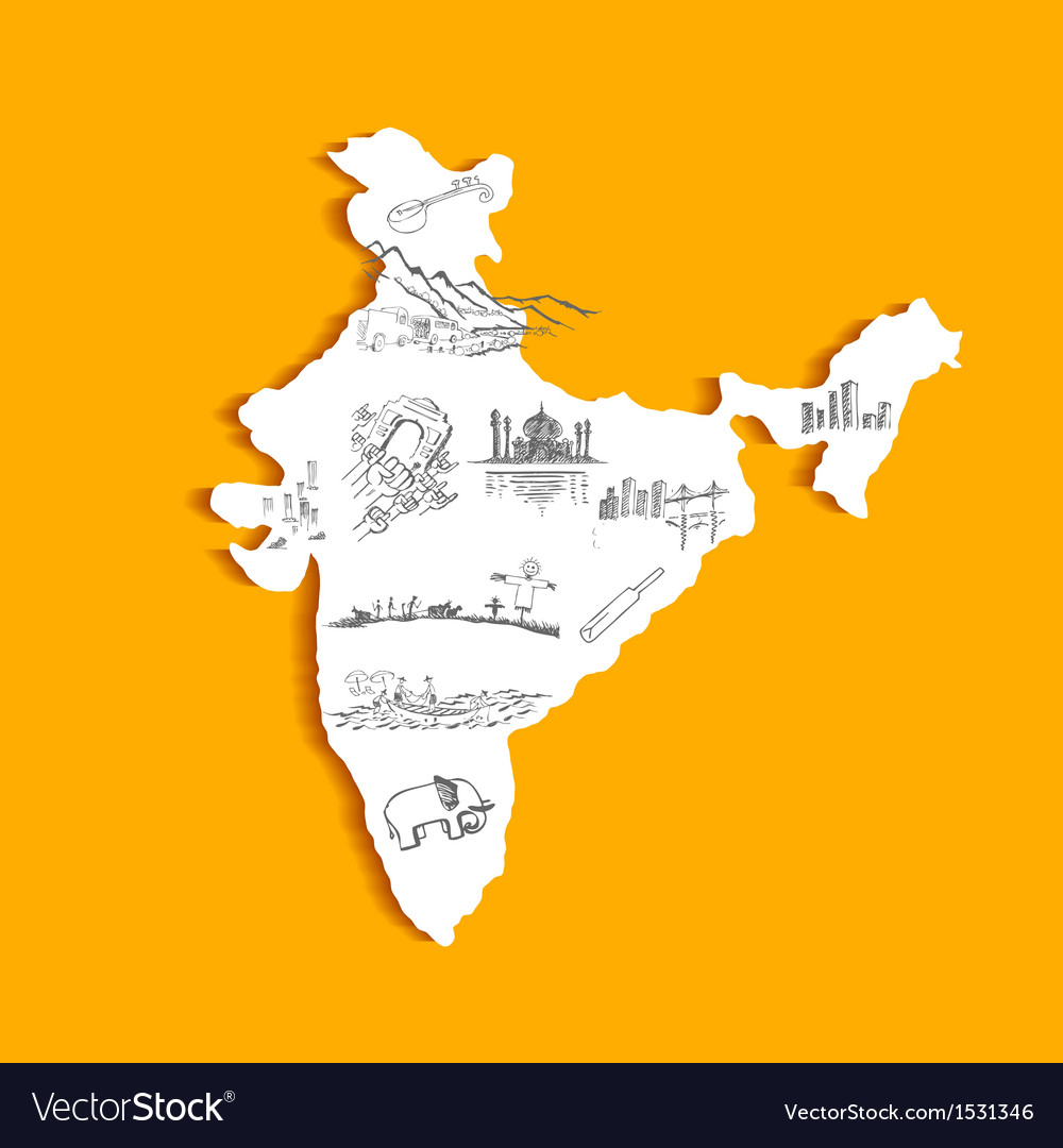 Indian map vector | Price: 1 Credit (USD $1)