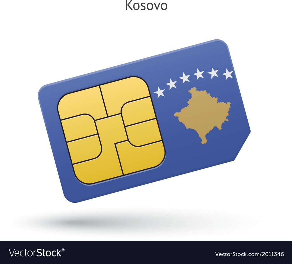 Kosovo mobile phone sim card with flag vector | Price: 1 Credit (USD $1)