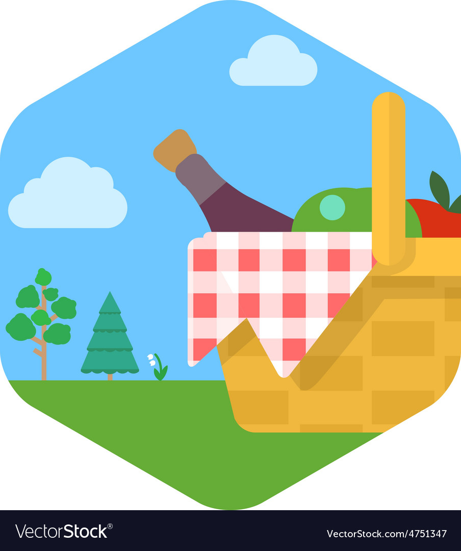 A picnic set against a green lawn vector   Price: 1 Credit (USD $1)