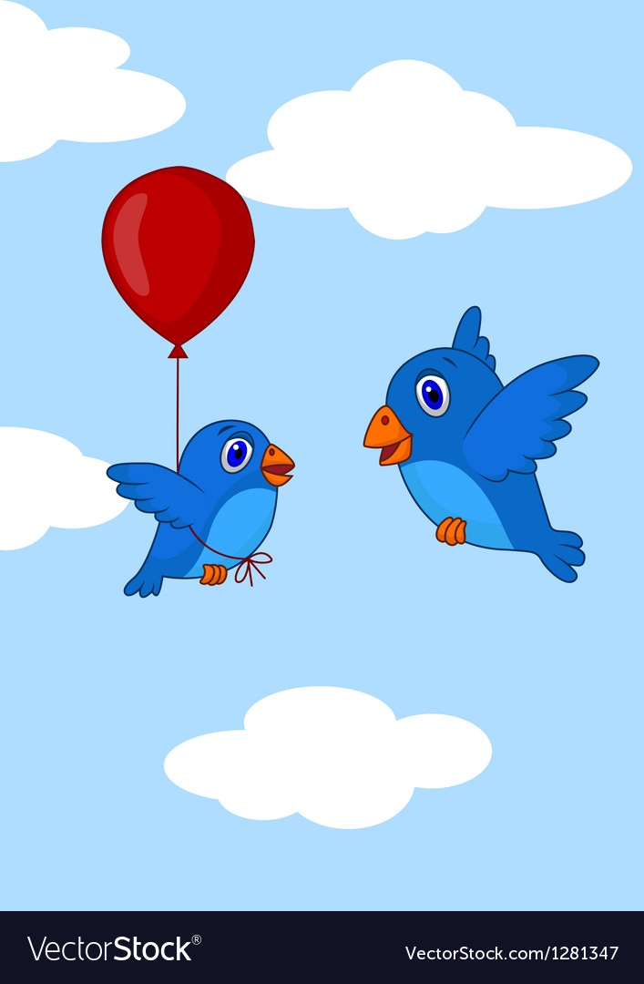Baby bird cartoon learn how to fly using balloon vector | Price: 1 Credit (USD $1)