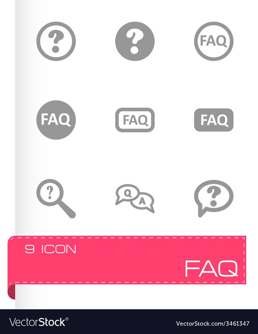 Black faq icon set vector