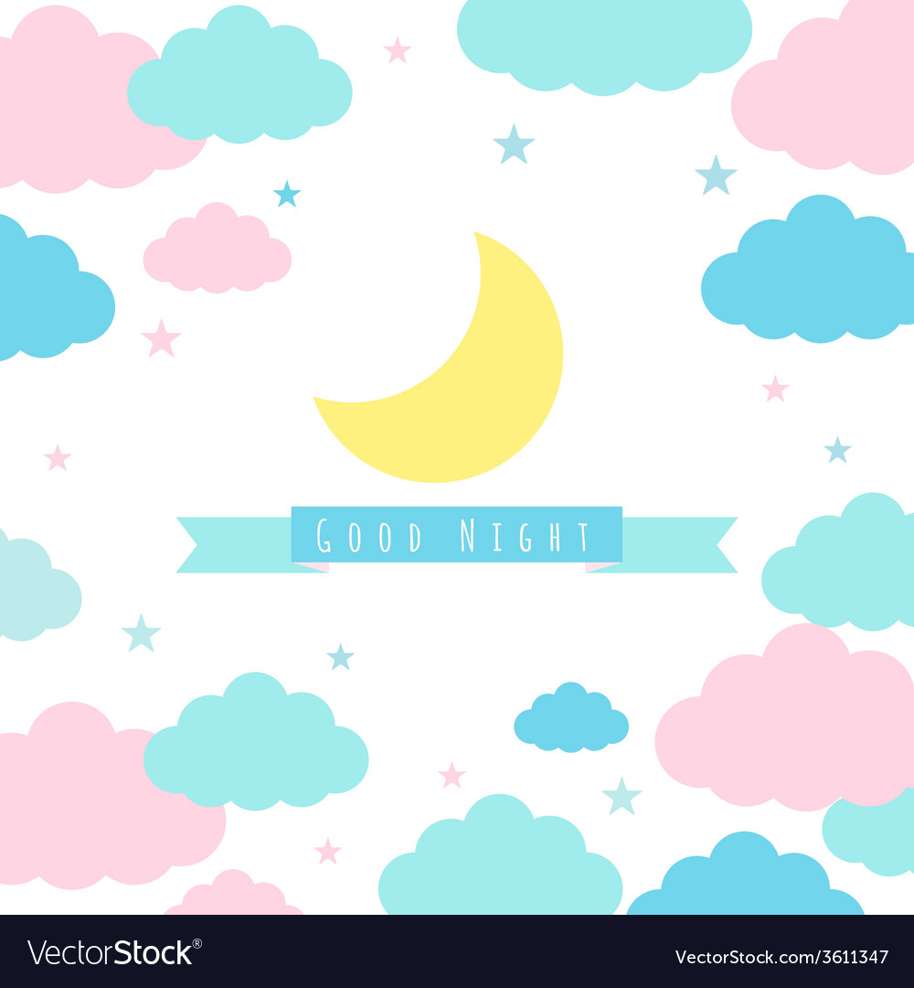 Childish background with moon clouds and stars vector | Price: 1 Credit (USD $1)