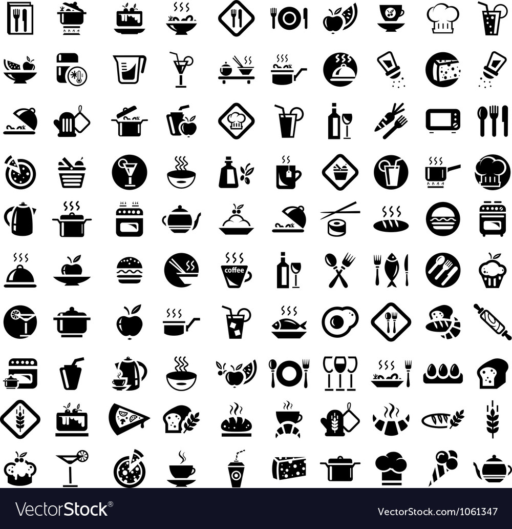 Food and kitchen icons set vector | Price: 1 Credit (USD $1)