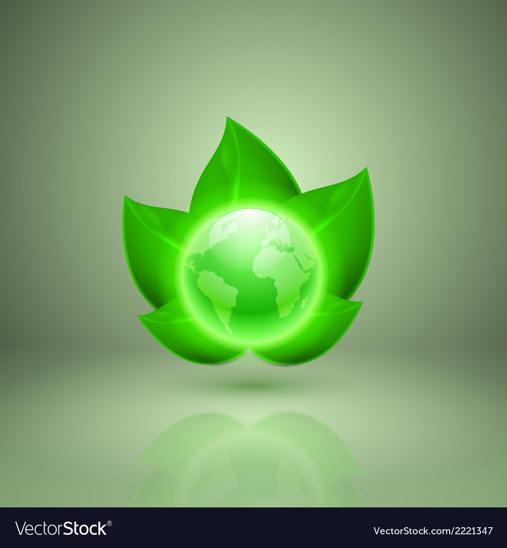 Green leaves with the globe vector | Price: 1 Credit (USD $1)
