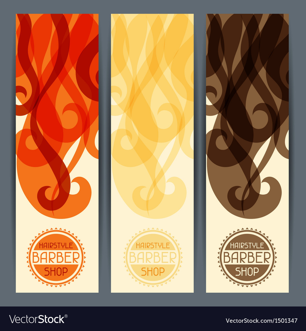 Hairstyle vertical banners vector | Price: 1 Credit (USD $1)