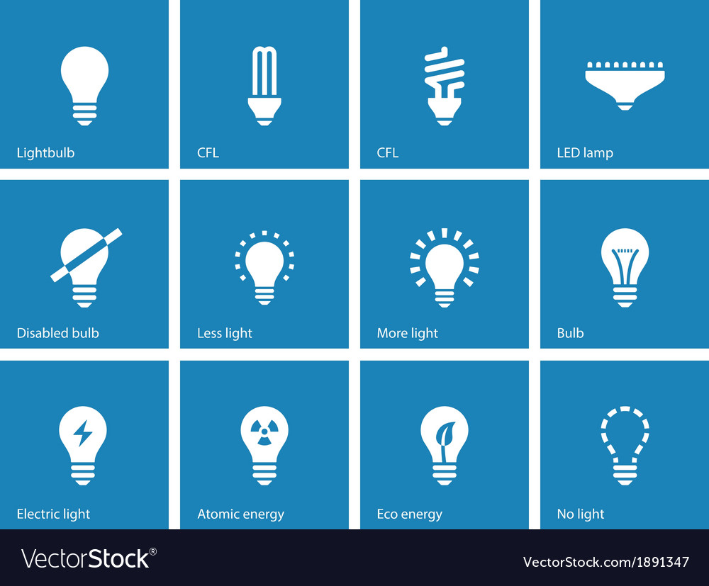 Light bulb and cfl lamp icons on blue background vector | Price: 1 Credit (USD $1)