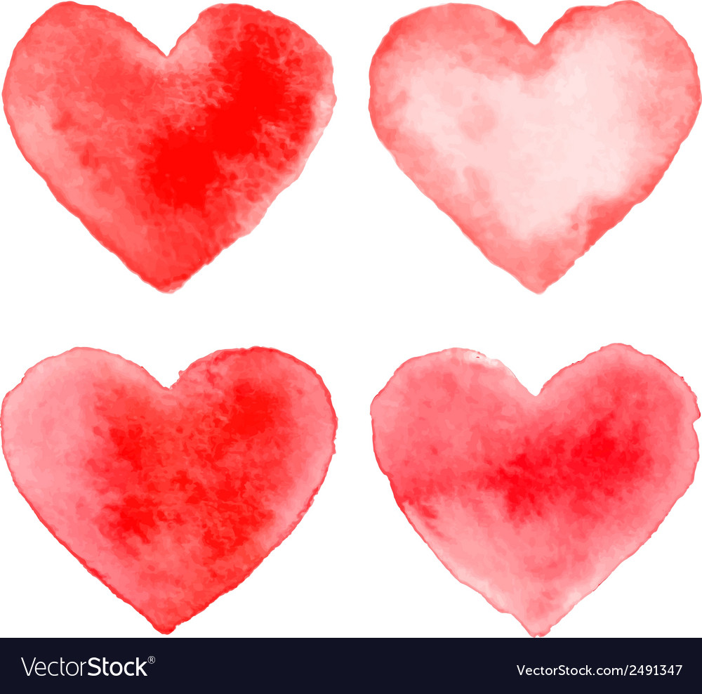Set of colorful red watercolor hearts vector | Price: 1 Credit (USD $1)
