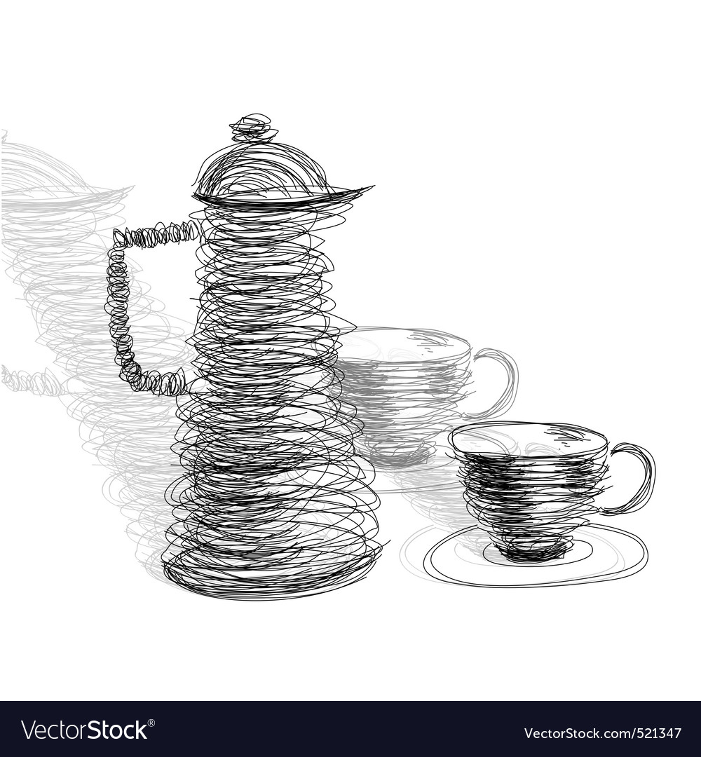 Tea cup with teapot vector | Price: 1 Credit (USD $1)
