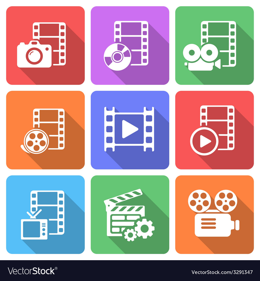 Trendy flat film icon pack vector | Price: 1 Credit (USD $1)