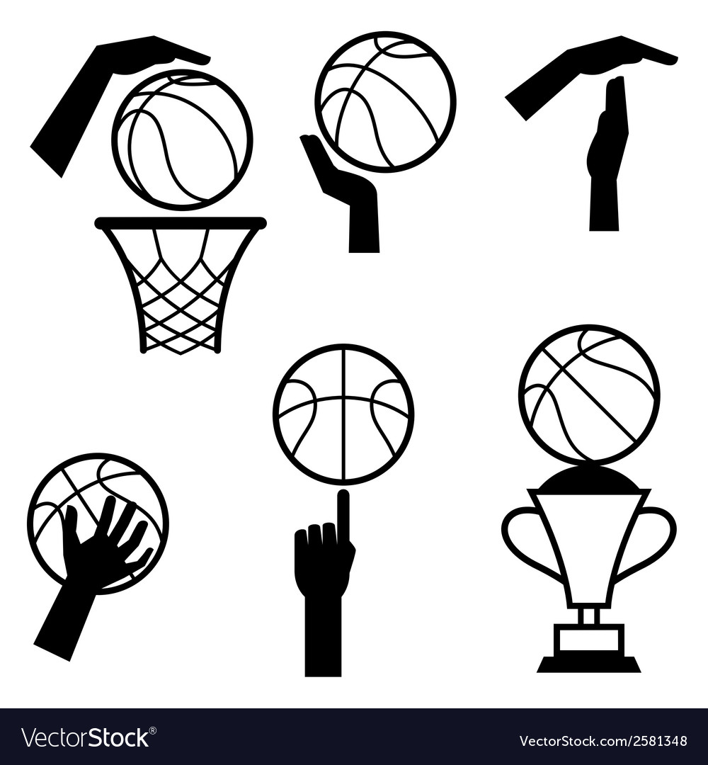 Basketball icon set of gestures and symbols in vector | Price: 1 Credit (USD $1)