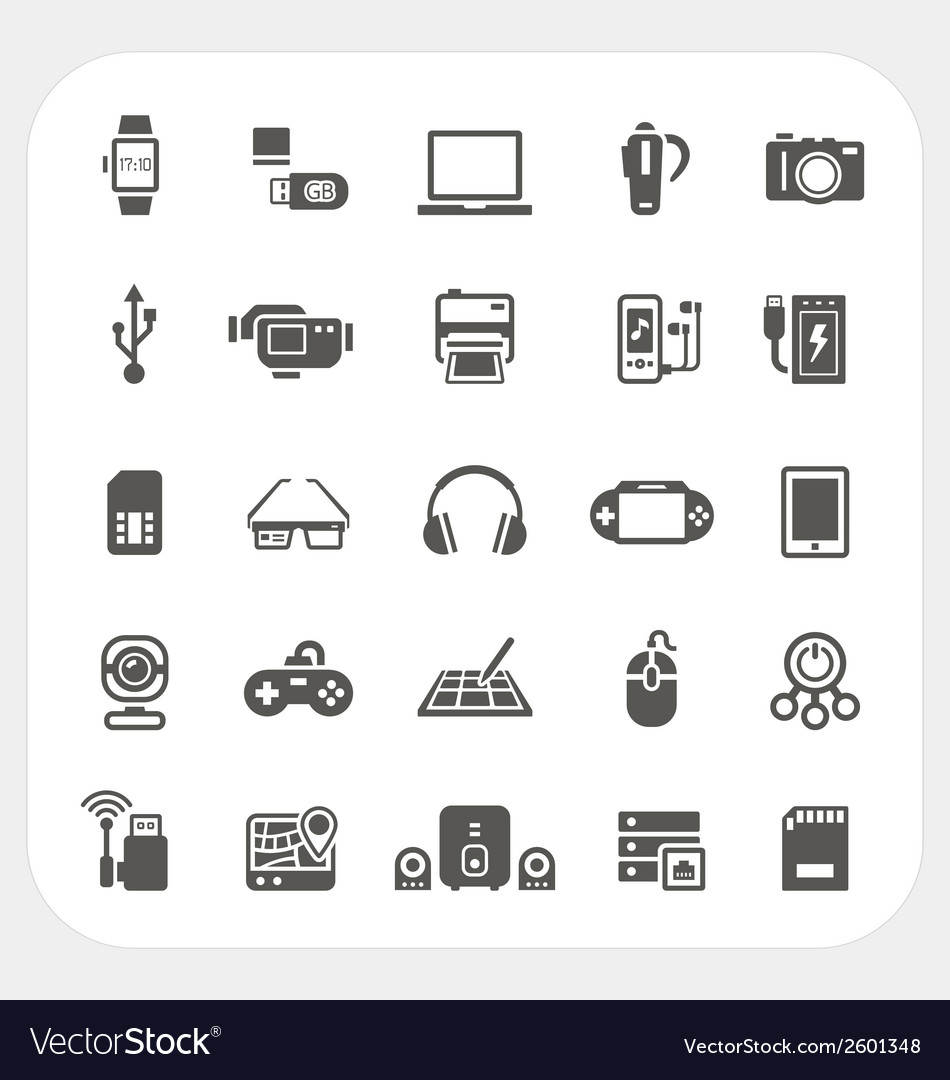 Electronic and gadget icons set vector | Price: 1 Credit (USD $1)