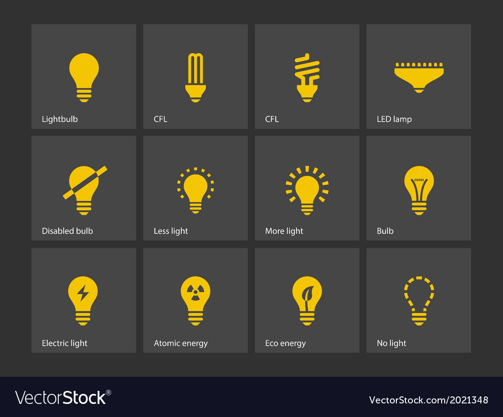 Light bulb and cfl lamp icons vector | Price: 1 Credit (USD $1)