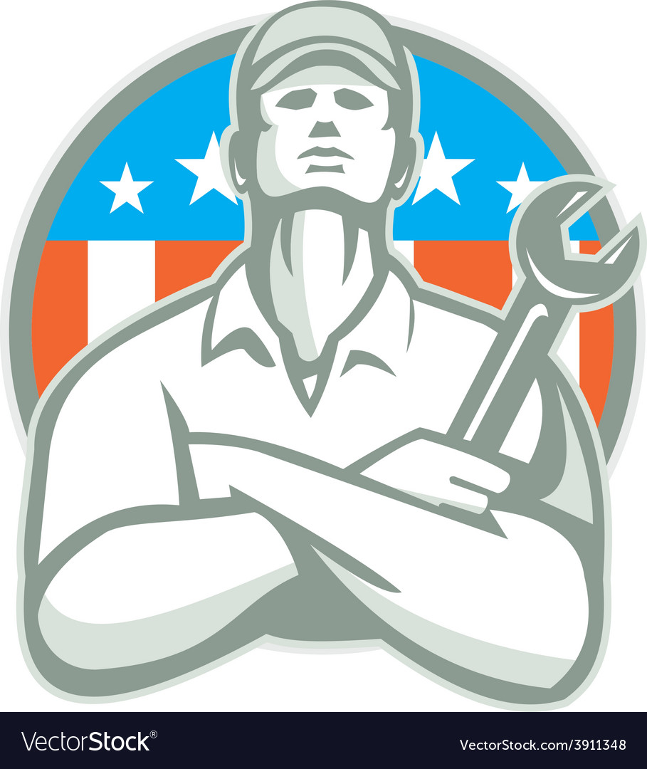 Mechanic arms crossed wrench usa flag retro vector | Price: 1 Credit (USD $1)