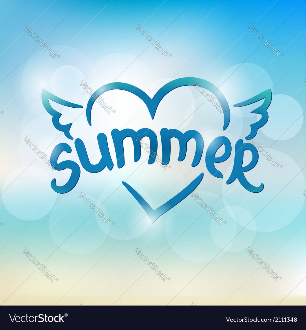 Summer typographic design hand drawn lettering vector | Price: 1 Credit (USD $1)