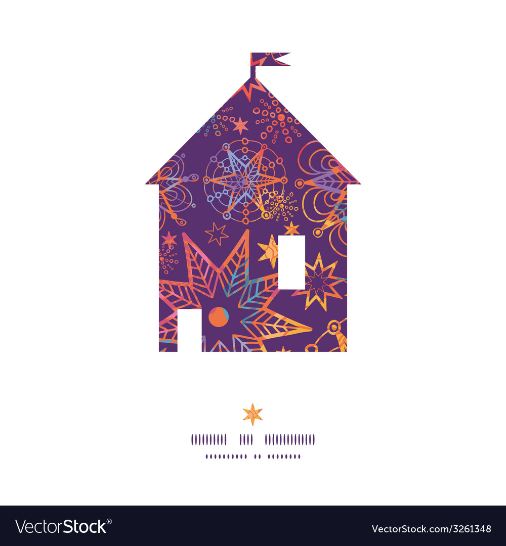 Textured christmas stars house silhouette pattern vector   Price: 1 Credit (USD $1)