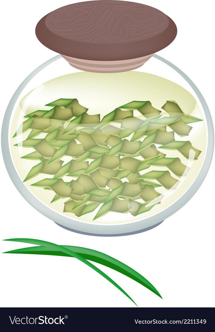 A jar of pandan tea with pandan leaves vector | Price: 1 Credit (USD $1)