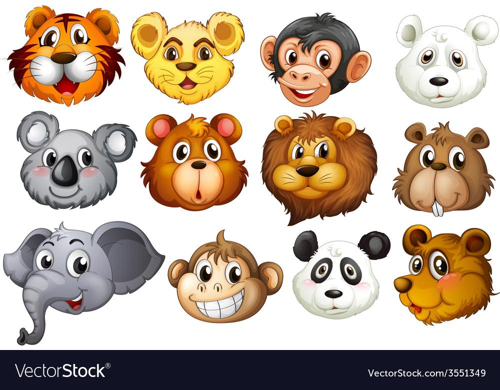 Animal heads vector | Price: 3 Credit (USD $3)