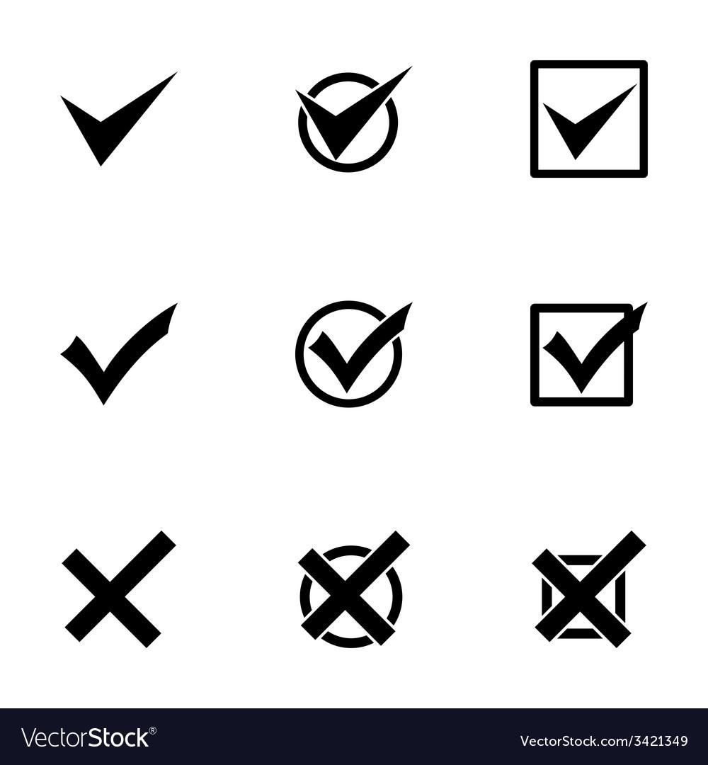Black check marks icon set vector | Price: 1 Credit (USD $1)