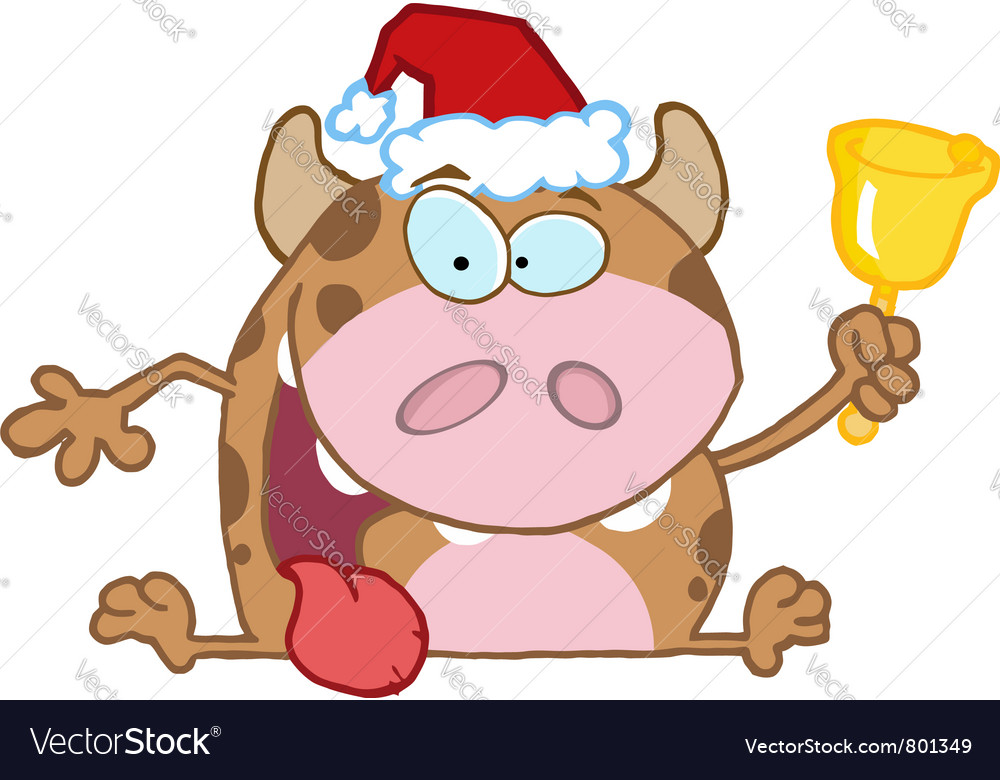 Calf cartoon character ringing a bell vector | Price: 1 Credit (USD $1)