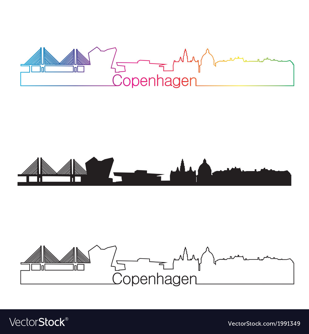 Copenhagen skyline linear style with rainbow vector | Price: 1 Credit (USD $1)