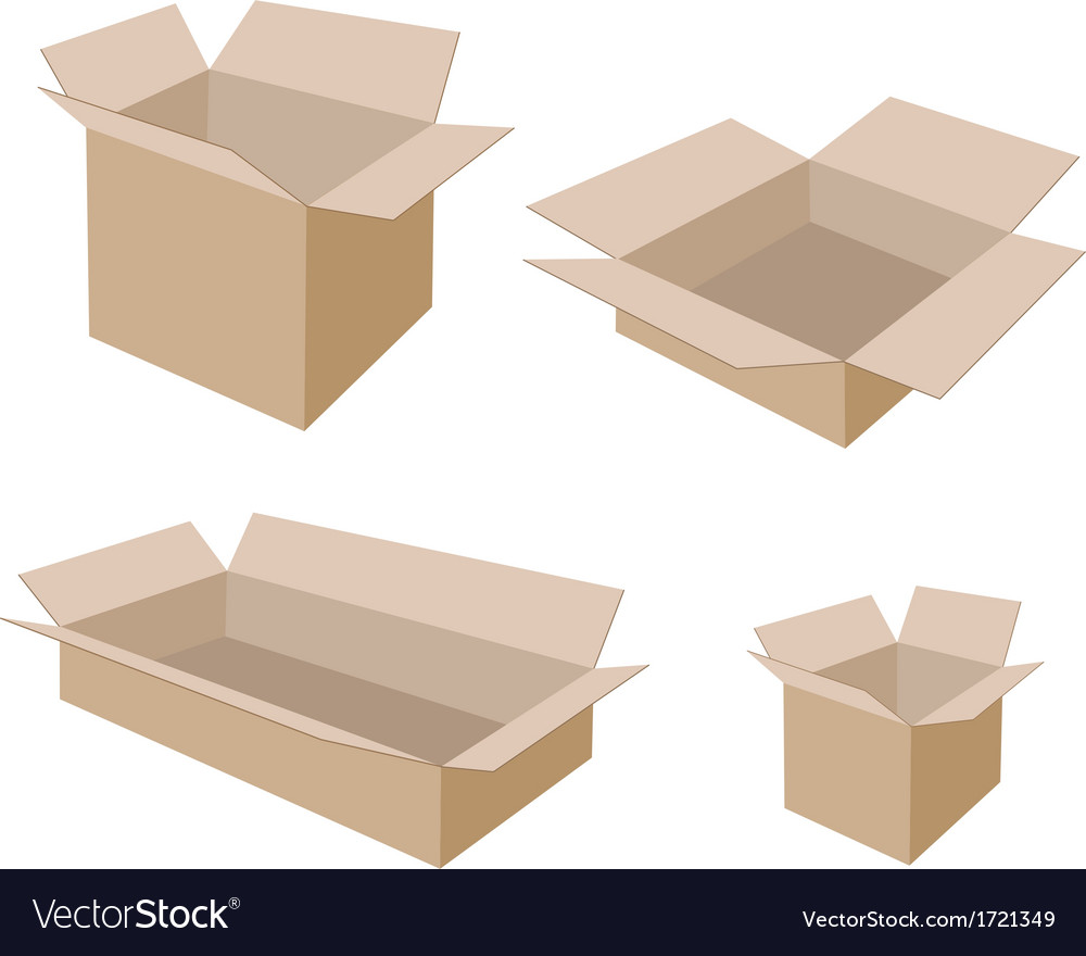Different size of open blank brown cardboard boxes vector | Price: 1 Credit (USD $1)