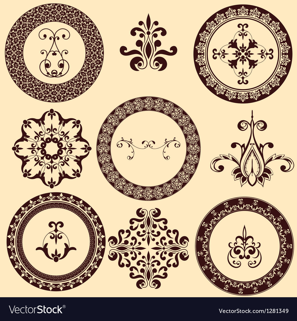 Floral retro frames and design elements vector | Price: 1 Credit (USD $1)