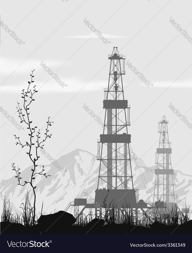 Oil rigs over mountain range vector | Price: 1 Credit (USD $1)