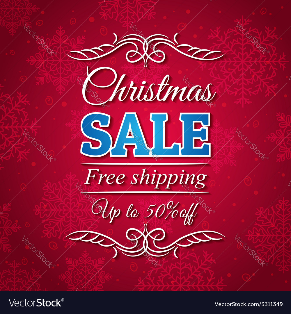 Red christmas background and sale offer vector   Price: 1 Credit (USD $1)