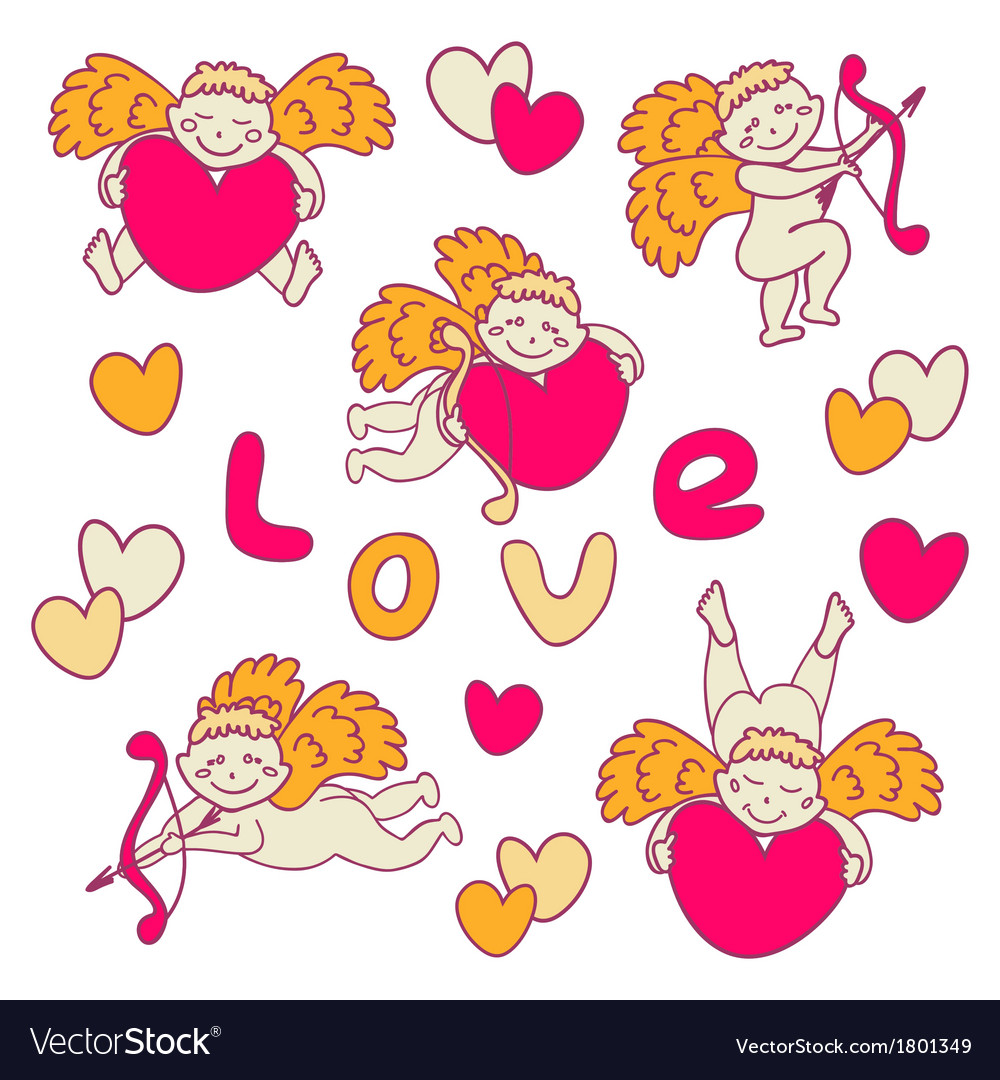 Set of cheerful cupid for valentines day vector | Price: 1 Credit (USD $1)